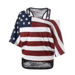 1edb880652a Fashion T Shirt Women Plus Size 5 XL Skew Collar American Flag T-Shirt  Summer crop Top Roupa Feminina