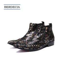 wedding dresses shoes boots 2019 - 2018 Designer Luxury Gold Metal Charm Men Genuine Leather Boots Rivets Men Ankle Boots Wedding Banquet Dress Shoes Large