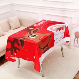 $enCountryForm.capitalKeyWord NZ - 140*195cm Cartoon Christmas Table Cloth Santa Claus Snowman Elk Pattern Merry Christmas Letter Inside Christmas Decorations Drop Shipping