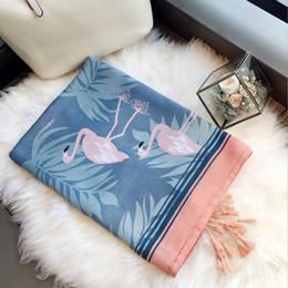 8af8bc10d7b6c Fashion Design Charming Scarf Woman Elegant Long Warm Wrap and Shawl Cute Pink  Flamingo Printed Hijab WJ022