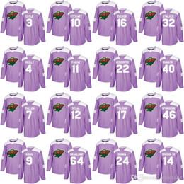 Hockey jersey suter For Sale - Mn Minnesota Wild Purple Hockey Fights Cancer Eric Staal Brodin Nino Niederreiter Zach Parise Mikko Koivu Devan Dubnyk Ryan Suter Jerseys