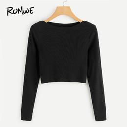 plain women tees 2019 - ROMWE Ribbed Knit Crop Black Tee Shirt Female Boat Neck Long Sleeve Elegant Clothing Autumn Women Top Casual Crop Plain