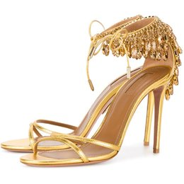 Rhinestone Gold Gladiator Sandals UK - Women Luxury Gold Leather Diamonds Design Thin Heel Sandals Lace-up Rhinestone High Heel Sandals Wedding Shoes Dress Shoes