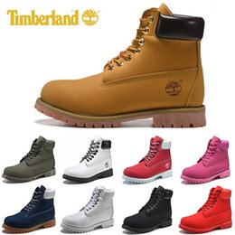 Blue polka dot flats online shopping - Original Timberland mens women Fashion winter boots chestnut black white red blue Grey womens men designer boot size on sale