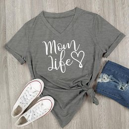 1bbe80ee 2018 Summer Casual T shirt Female Tee Loose Tops Fashion Women T-Shirts Mom  Life Leer Printed V-Neck Short Sleeve Tops 967934