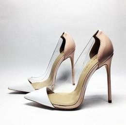 be55fe7dd 2018 Mulheres de Luxo Bombas Transparentes 8 cm 10 cm 12 cm de Salto Alto  Sexy Dedo Apontado Slip-on Sapatos de Festa de Casamento Para plus Size 35- 44