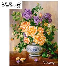 Paintings Vases Australia - FULLCANG diy full square diamond embroidery flowers and vase 5d diamond painting cross stitch mosaic needlework kits D454