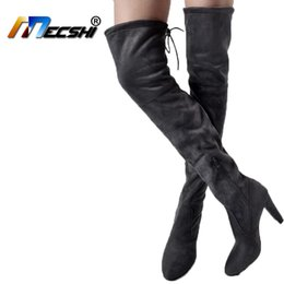 194ab3f76f4 2018 New Women Boots Shoes Black Over the Knee Boots Sexy Female Autumn  Winter lady Thigh High thigh high