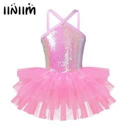 $enCountryForm.capitalKeyWord Australia - Girls Professional Ballet Tutu Dress for Kids Teen Ballerina Sleeveless Halter Sequins Ballet Dancewear Class Gymnastics Leotard