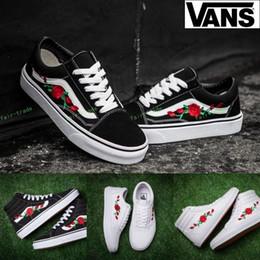2018 Vans Old Skool X AMAC Customs Rose Embroidery Skateboard Shoes Women  Men zapatillas de deporte Casual Canvas Running Sneakers 36-44 74ca6c402