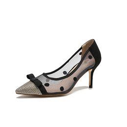 $enCountryForm.capitalKeyWord NZ - Lace Sheepskin Women Shoes High Heel Openwork Net Yarn Polka Dot Bowknot Patchwork Pointed Toe Black Fashion Women pumps