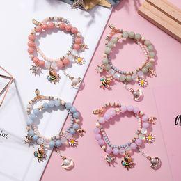 $enCountryForm.capitalKeyWord NZ - Korean Sweet Multilayer Cartoon Bee Flower Saturn Pendant Luminous Stone Crystal Beaded Bracelet for Women Party Charm Jewelry