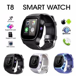 Bluetooth Smart Watch Sim Australia - T8 Bluetooth Smart Watch Support SIM TF Card with 1.3MP Camera Smartwatch Sports Wristwatch for Android