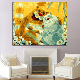 picture cartoon cat NZ - Oil Painting By Numbers DIY Dote On Pictures Kits Drawing Coloring On Canvas Hand Paint Cat Animal Wall Art Home Decor Framework
