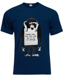 blue monkey cartoons Australia - Banksy Laugh Now Sandwich Board Wearing Monkey Mens Tshirt Tee Top AG83 Cartoon t shirt men Unisex