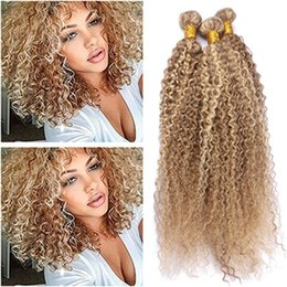 Piano Hair Australia - Cheap Indian Human Hair Piano Color Weave Bundles Kinky Curly #27 613 Highlight Mixed Piano Color Virgin Human Hair Weft Extensions 4Pcs