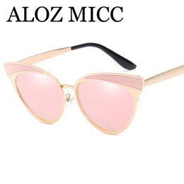 Discount eyeglass frames cat women - ALOZ MICC Fashion Cat eye Sunglasses Women 2018 Trend Female Metal Sun Glasses Lady Style UV400 Eyeglasses A484
