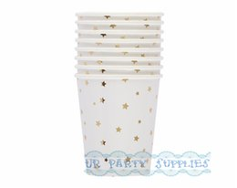 Cupcake Sales Australia - Hot Sale!! 160pcs Foil Gold Star Paper Cups 9OZ Ice Cream Snack Cupcake Fruit Candy Cups for Birthday Baby Shower Wedding Party