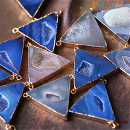 Gemstone Pendant Connector Australia - 1 Piece Beautiful Triangle Style Natural Stone Pendant Agate Connector Loose Gemstone for Necklace Bracelet DIY Jewelry Making