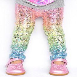 $enCountryForm.capitalKeyWord NZ - Cute Rainbow sequin Skinny girls leggings Toddler baby kids Pencil Pants Trousers sparkle Unicorn leggings Tights