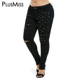 aafa1296e33 PlusMiss Plus Size 5XL Beading Black Distressed Denim Pants Women XXXXL  XXXL XXL Big Size Sexy Hole Ripped Skinny Jeans Femme