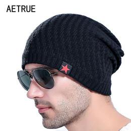Großhandel Marke Männer stricken Hut Mützen Männer Winter Hüte für Männer Bonnet Skullies Caps Frauen Winter Beanie warme verdicken Baggy Maske Hüte