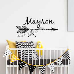 Discount custom names stickers - Unique New Personalized Name Art Design Arrows With Custom Wall Decal Kids Bedroom Art Decor Nursery Room Vinyl Wall Sti