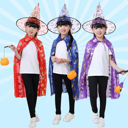 Wholesale Children Wizard Hats Australia - Halloween children's cloak and hat suits festival dressingup party child clothes Witch Wizard Cape Cloak Hat
