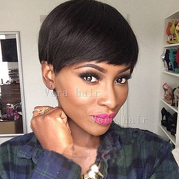 Cheap shorts for ladies online shopping - Straight Human hair wigs Cheap Pixie Cut short lacewig lace front with baby hair african hair cut style brazilian Ladies wig for black women