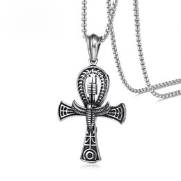 "$enCountryForm.capitalKeyWord Canada - Scarab Ankn Cross Pendant For Men Necklace Egyptian Religious Stainless Steel 24"" Box Chain Key of Life Male Jewelry"