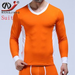 83ef31cf7 WJ Coon Mens Thermal Tops Thermo Underwear Sexy Long Sleeve V Neck Slim T  shirts Man Male Gay Warm Winter Sleepwear Plus Size
