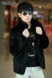 Mens Parka Leather Australia - 2018 Winter Faux Fur Coat Leather Jacket Mens Short Design Black Casual Rabbit Fur Parka Outwear Jaqueta De Couro Masculina X816