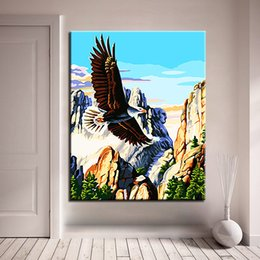 Chinese  DIY Oil Painting By Numbers Coloring Animal Eagle Wings Flying On Canvas Home Decor Wall Art Abstract Scenery Pictures Framework manufacturers