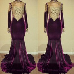 Lace Mermaid Velvet Gown Canada - 2018 Elegant Mermaid Velvet Grape Evening Dresses High Neck Gold Lace Applique Long Sleeves Prom Gowns Real Images