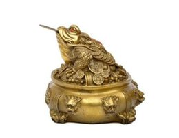 Sky Blue Curtains UK - Chinese Bronze Golden Toad Dragon Beast Treasure Bowl Incense Burner Censer