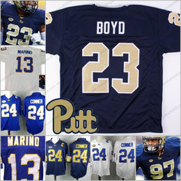 9eaabbdb6aa Pittsburgh Panthers Pitt #13 Dan Marino 23 Tyler Boyd 7 Tom Savage 97 Aaron  Donald 12 Paris Ford white blue gold College Football Jerseys