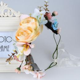 Discount artificial hair accessories - Vintage Boho Flower Wreath Artificial Floral Hair Garland Bridal Party Decoration Hairband Beach Photo Hair Accessory