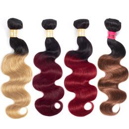 $enCountryForm.capitalKeyWord NZ - Cheap Body Wave Ombre Hair Bundles Brazilian Virgin Remy Human Hair Extensions 3 Bundles Deal T1B 99J Red Bloned Ombre Hair Bundles