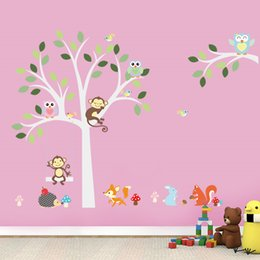 Squirrel Wall Stickers Australia - vinyl stickers Wise Fox squirrel monkey owls on white tree wall stickers for kids room love birds Wall Decal Vinyl Sticker Nursery