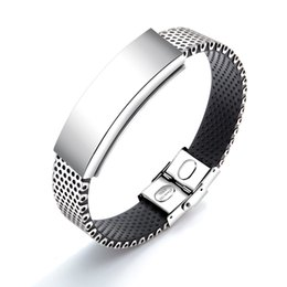 $enCountryForm.capitalKeyWord NZ - Personality Stainless Steel Magnetic Stone Therapy Bracelet for Men with Magnets Rubber Silver Tone for Men High Polish