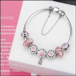 $enCountryForm.capitalKeyWord Australia - Authentic 925 Silver Charm Bracelet Bangle for Jewelry Making with Pink Murano Glass Beads Charm DIY Beads Jewelry 16-21cm Bracelet Gift