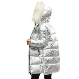 2019 Winter New Womens Down Jacket Long Silver Bright Hooded Loose Thick Bread 100% White Duck Down Warm Coat Tq367 For Fast Shipping Jackets & Coats