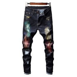 Wholesale dance jeans for sale – denim Autumn New Printed Jeans for Men With Decoration Stitching Punk Style Hip Hop Dancing Jeans