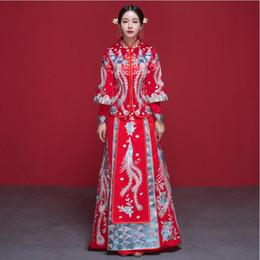 80faf90bf9 Red Dragon Phoenix Cheongsam Wedding Bride Dress Chinese Women s Dress  QiPao Evening Long Dress for Overseas Chinese Wedding