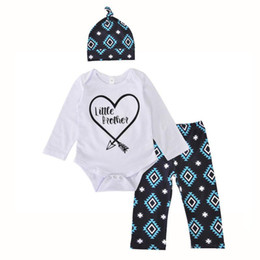 02591a9adc204 Baby Rompers Clothing Sets little Brother Boys Newborn Onesies Pants Caps  3Pcs Set Autumn Toddler Romper Boutique Clothes Outfits