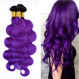 ombre hair extensions 22 inch NZ - Dark Roots Two Tone Natural Black and Purple Color Hair Extension 10-30 Inch Ombre 1B Violet Body Wave Hair Weft 3Bundles Free Shipping