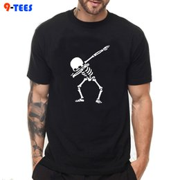 boys summer skull t shirts 2019 - Big Size Solid Color 100% Cotton T Shirt Men's Punk Black White T-shirts 2018 Summer Tee Boy Hip Hop Funny Skull Ts