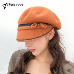f5a069eb405b9 bow beret hat 2019 - Fibonacci 2018 New Fashion Wool Beret Cap Brand  Quality Autumn Winter
