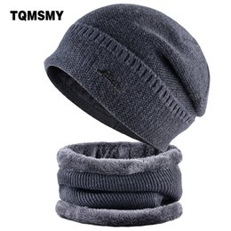 4c8e2551bb4 TQMSMY Little Label Men Skullies hats cap neck warmer Winter Hats For Men  warm Baggy Beanies Knit scarf velvet Bonnet Caps TMC32