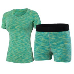 China 2 pieces Yoga Set Fitness Tight Women Wick Workout Gym Clothes Running Shorts Compression T-shirt Tracksuits Yoga Sport Suits cheap women s yoga pants wholesale suppliers